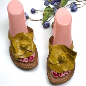 Born Crown Leather Floral Yellow Thong Sandals